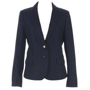 LOFT Navy Blue Wool Blend Blazer Jacket Size 10
